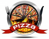 pic of flames  - Metal icon or symbol with slices of pizza flames red ribbon with text pizza and silver cutlery - JPG