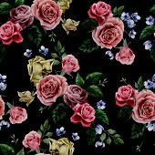 stock photo of purple rose  - Seamless floral pattern with red purple and pink roses on black background watercolor - JPG