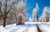 foto of calvary  - Calvary at town Ruzomberok during winter - JPG