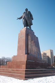 pic of lenin  - Lenin monument in Kharkov which was demolished in 2014 under the bright winter sky. Until 2014 it was the largest statue of Lenin in Ukraine ** Note: Soft Focus at 100%, best at smaller sizes - JPG