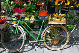stock photo of stelles  - The bike is used as the stall at the village market - JPG