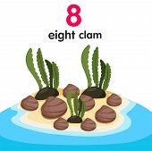 pic of clam  - Illustrator of eight clams on the beach for education - JPG
