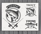 pic of trout fishing  - Vintage trout fishing emblems - JPG
