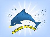 stock photo of dolphin  - Summer holiday vector illustration with blue dolphin and drops of water - JPG