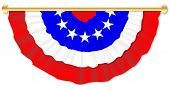 picture of semi-circle  - Red white and blue independence day bunting over a white background - JPG