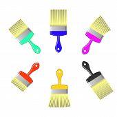 stock photo of bristle brush  - Set of Colorful Paint Brushes Isolated on White Background - JPG