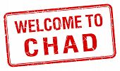 pic of chad  - welcome to Chad red grunge square stamp - JPG