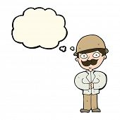 foto of safari hat  - cartoon man in safari hat with thought bubble - JPG