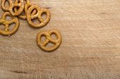 stock photo of pretzels  - Pretzels on Wooden Table  - JPG