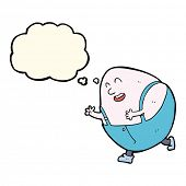 image of nursery rhyme  - cartoon humpty dumpty egg character with thought bubble - JPG