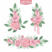 image of rose bud  - Watercolor Floral compositions of pink roses  - JPG