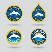 pic of dolphin  - swimming or sport club logo set with dolphin and water drops illustration - JPG