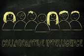 pic of collaboration  - happy group of people dedicated to collaborative intelligence online - JPG