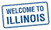 foto of illinois  - welcome to Illinois blue grunge square stamp - JPG