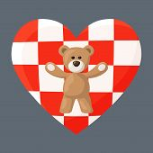 image of visitation  - Teddy Bears with heart with flag  - JPG