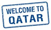 picture of qatar  - welcome to Qatar blue grunge square stamp - JPG