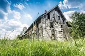 image of abandoned house  - Abandoned wooden house surrounded by romantic nature - JPG