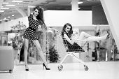 stock photo of trolley  - Two cute beautiful girls in dresses with shopping trolley and bag indoor on shop background black and white horizontal picture - JPG