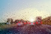picture of raindrops  - Bad Weather Driving  - JPG