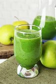 pic of sackcloth  - Healthy green smoothie with apples on sackcloth - JPG