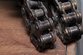 picture of dirt-bike  - motorcycle chain and wheel gear of bike - JPG