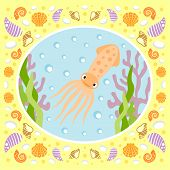 pic of squid  - Sea background card with squid - JPG