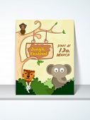 stock photo of jungle animal  - Stylish Jungle Festival poster or invitation design with cartoon of animals and party details - JPG