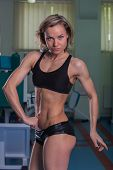 image of breast-pump  - Girl pumps the major muscle groups in the gym - JPG