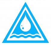 stock photo of spigot  - blue water drop triangular sign with river wave on white backdrop - JPG