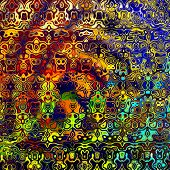 foto of psychedelic  - Psychedelic colorful art background illustration - JPG