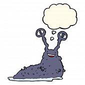 stock photo of slug  - cartoon slug with thought bubble - JPG