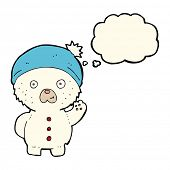 foto of crazy hat  - cartoon waving polar teddy bear in winter hat with thought bubble - JPG