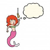 pic of mermaid  - cartoon mermaid and fish hook with thought bubble - JPG