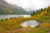 picture of fall day  - Foggy Day Fall Day on Josephine Lake In Glacier National Park in Montana - JPG