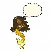 stock photo of mermaid  - cartoon pretty mermaid with thought bubble - JPG