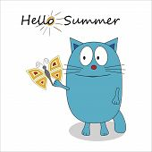 Hello summer cartoon character - vector poster