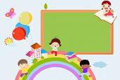 foto of playmates  - Kids and blackboard frame - JPG
