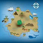 image of treasure map  - vector illustration of pirate treasure map - JPG