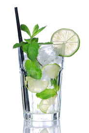pic of alcoholic drinks  - Mojito cocktail isolated on white - JPG