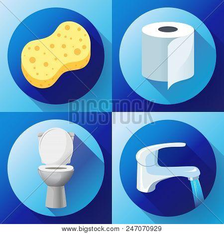 White Ceramics Vector Toilet Bowl