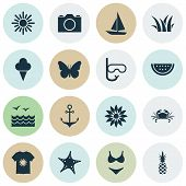 Summer Icons Set With Grass, Swimsuits, Starfish And Other Ananas Elements. Isolated  Illustration S poster