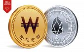 Eos. Won. 3d Isometric Physical Coins. Digital Currency. Korea Won Coin. Cryptocurrency. Golden And  poster
