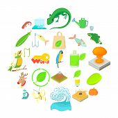 Ecology Icons Set. Cartoon Set Of 25 Ecology Vector Icons For Web Isolated On White Background poster