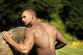 Hercules, Heracles. Beauty Fashion Portrait. Sportsman Man With Strong Hands Biceps, Triceps Push Bo poster