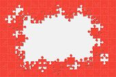 Red Background Puzzle. Jigsaw Puzzle Banner. Vector Illustration Template Shape. Abstract Background poster