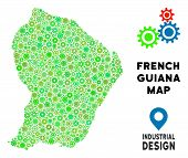 Gear French Guiana Map Composition Of Small Cogwheels. Abstract Territory Plan In Green Color Tints. poster