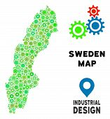 Gear Sweden Map Mosaic Of Small Cogwheels. Abstract Geographic Plan In Green Shades. Vector Sweden M poster