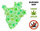 Royalty Free Cannabis Burundi Map Mosaic Of Weed Leaves. Concept For Narcotic Addiction Campaign Aga poster