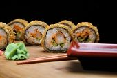 Hot Fried Sushi Roll With Shrimp And Caviar. Sushi Menu. Japanese Food. Prawn Crispy Maki Set With W poster