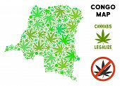 Royalty Free Cannabis Democratic Republic Of The Congo Map Composition Of Weed Leaves. Concept For N poster